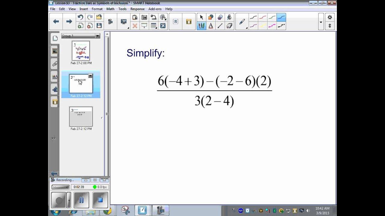 math worksheet : saxon pre algebra  lesson 93  fraction bars as symbols of  : Pre Algebra Fractions Worksheets