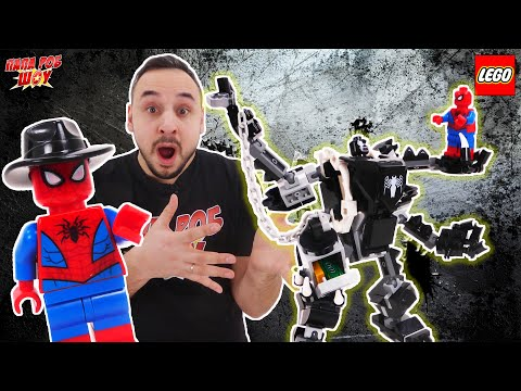 ПАПА РОБ И ВЕНОМ LEGO MARVEL: РЕАКТИВНЫЙ САМОЛЁТ ЧЕЛОВЕКА-ПАУКА ПРОТИВ РОБОТА ВЕНОМА - БИТВА! 13+
