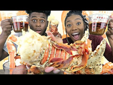 SEAFOOD BOIL MUKBANG | GIANT EDITION | HUGE LOBSTER TAILS, KING CRAB LEGS AND TIGER SHRIMP