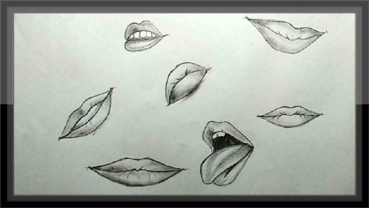Cool Pencil Drawing - 7 Simple Way To Draw Lips Easy - YouTube