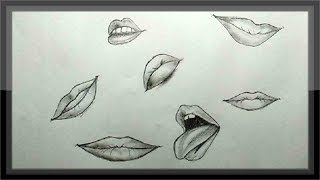 pencil easy drawings lips sketch drawing simple cool draw way