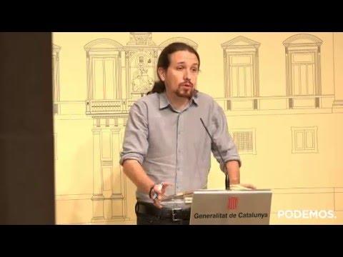 Rueda de prensa de Pablo Iglesias desde la Generalitat de Catalunya