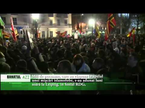Mii de persoane, care au răspuns la apelul unei mişcări islamofobe, s au adunat luni seară la Leipzi