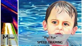 "Colored Pencil Child Portrait: ""Wet Fun"""