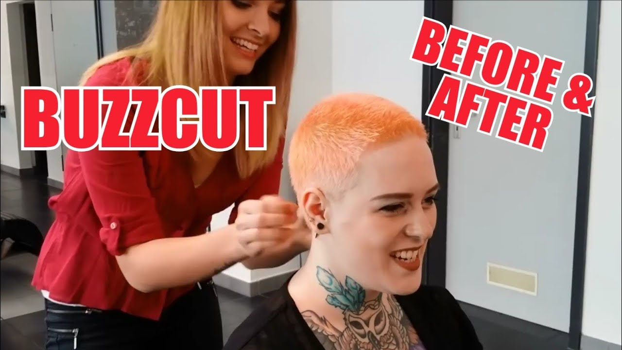 Buzzcut Pixie Extreme Before After by JÖRG MENGEL FRISEURE
