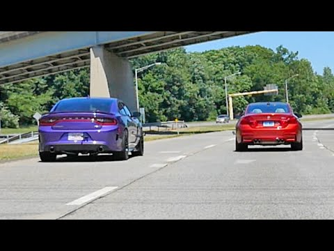 Dodge Charger Hellcat Vs Bmw M4 Rolling Drag Race Youtube