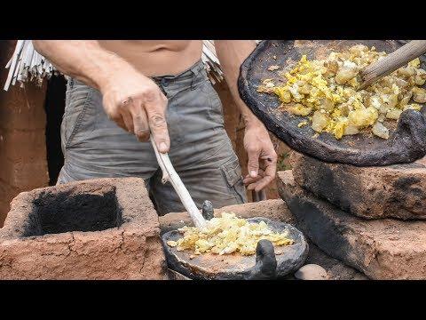 Primitive Potato & Egg Breakfast on Adobe Rocket Stove