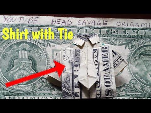 Money Origami Shirt With Tie Dollar Bill