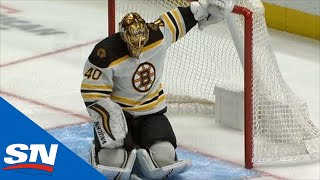 Tuukka Rask Takes Errant Fist To The Head From Emil Bemstrom, Leaves For Concussion Protocol
