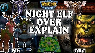Grubby | Warcraft 3 TFT | 1.30 | NE v ORC on Twisted Meadows - Night Elf Over Explain