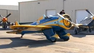 "Hand-Cranking the Inertia Starter on Restored 1934 Boeing P-26 ""Peashooter"" Fighter Plane !"