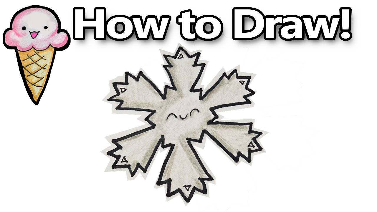 Uncategorized How To Draw A Snowflake Easy how to draw a kawaii snowflake step by easy for beginners youtube
