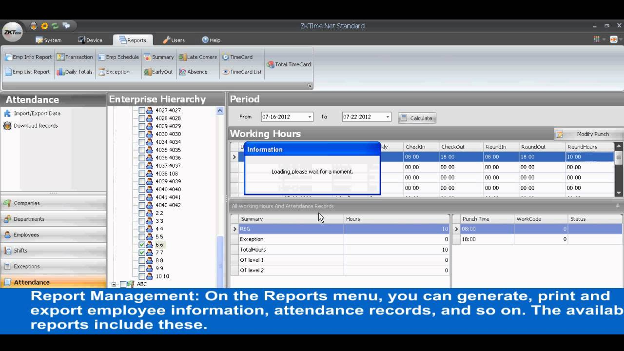 zktime net tutorial chapter 6 attendance management and report