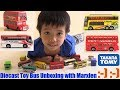 Unboxing Diecast BUS. Playing His Toy Bus. Takara Tomy Diecast Cars. Hulyan and Maya's Toys
