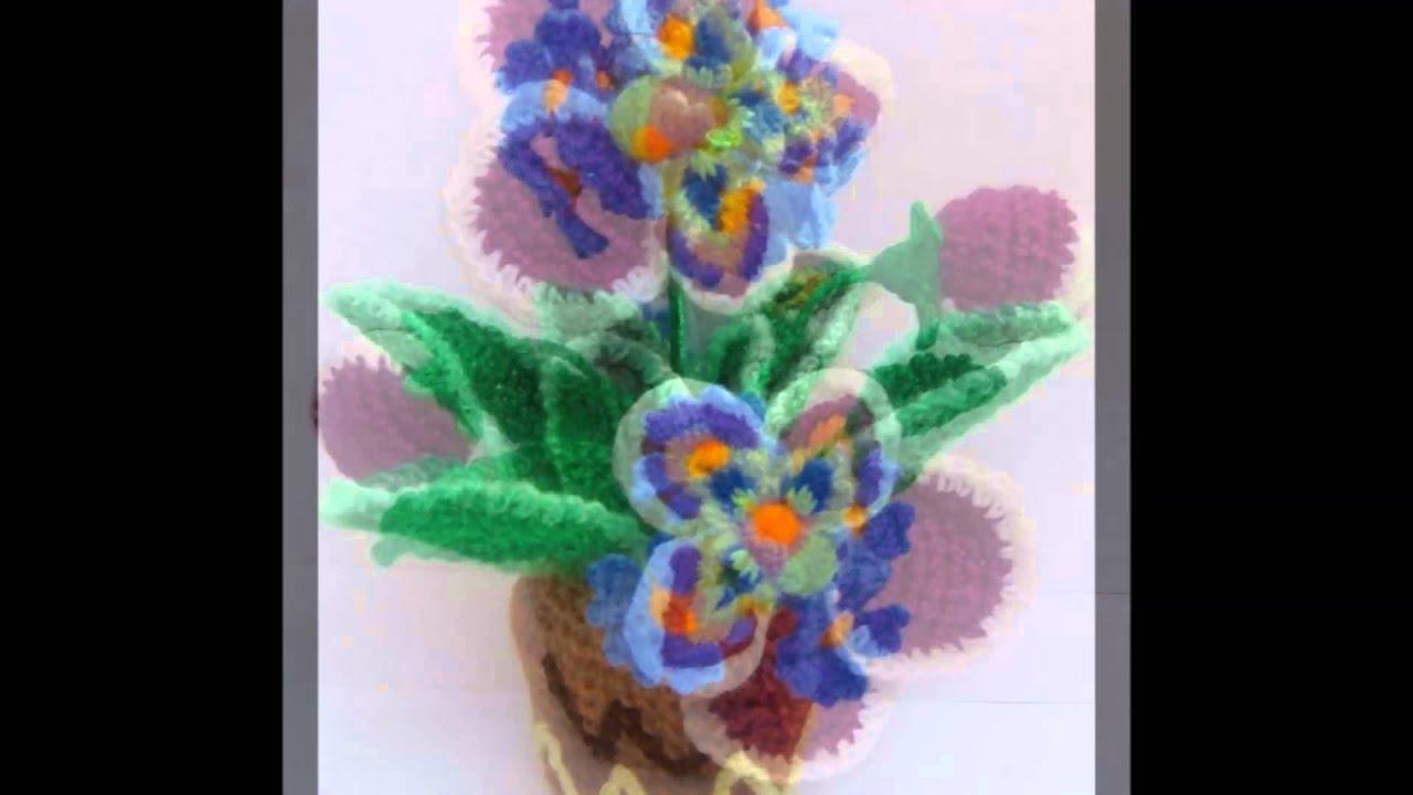 Flores y macetas tejidas a crochet - YouTube