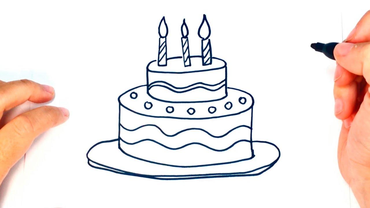 Cómo dibujar una Tarta de Cumpleaños paso a paso | Dibujo fácil de Tarta de Cumpleaños #1