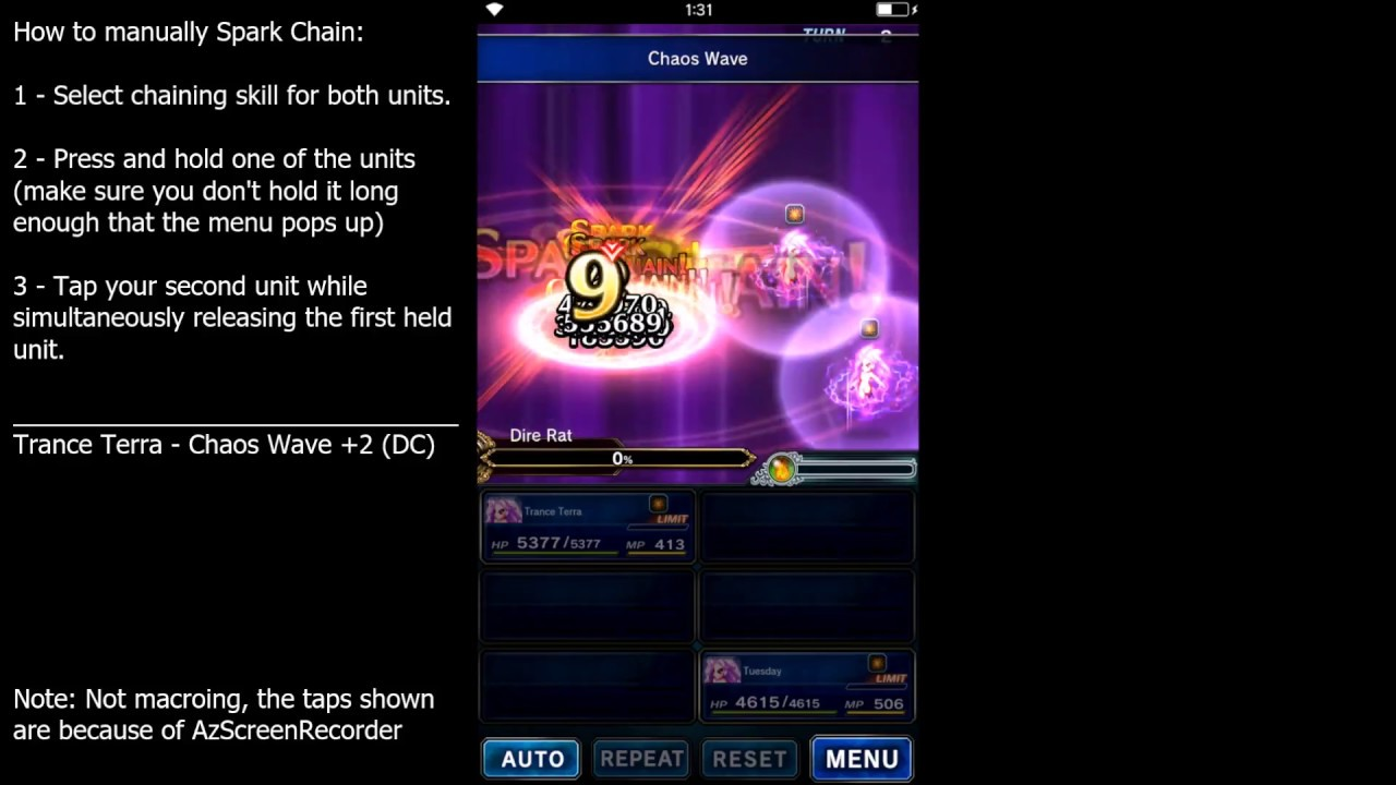FFBE - How to Manually Spark Chain (w/o Magnification Gestures) by Jason Si