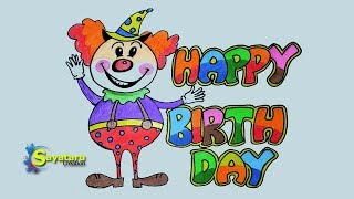 birthday happy draw drawing simple poster easy celebration wish