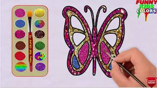 Easy Butterfly Drawing For Kids I Butterfly Coloring pagesII Glitter ColoringII Funny kids Colors TV