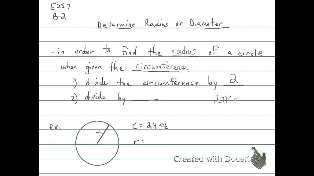 Determine Radius Or Diameter 6th Grade