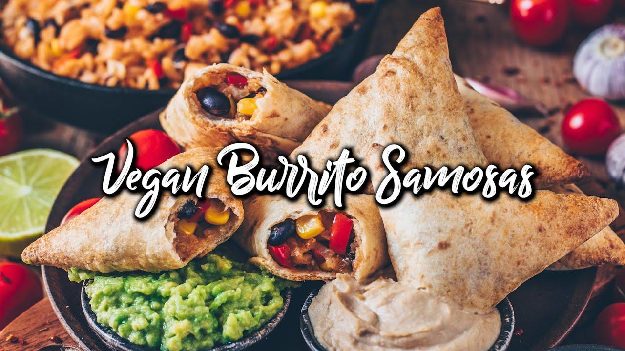 Vegan Burrito Samosas with Guacamole & Cashew Dip * Recipe