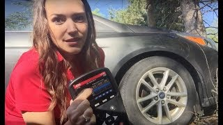 Tire Tread Depth Gauge demo - measuring tire tread depth