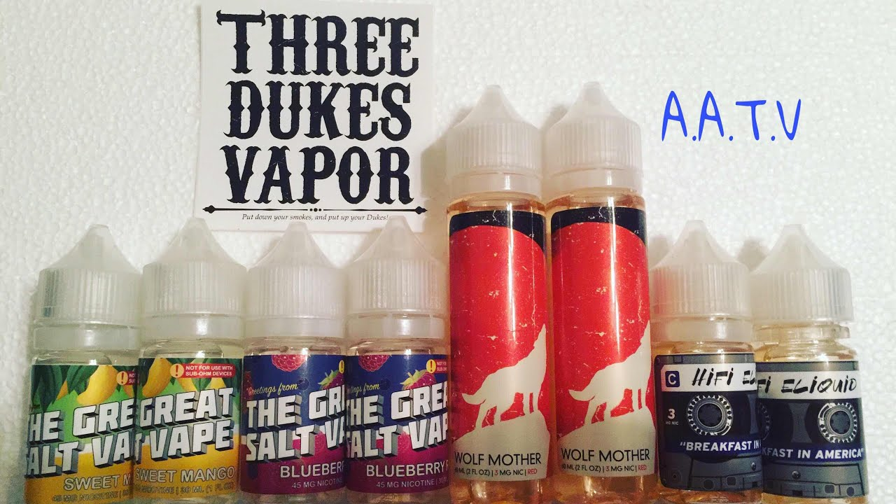 Three Dukes Vapor  ( Wolf Mother Red & Breakfast In America ) E - Liquid  Review