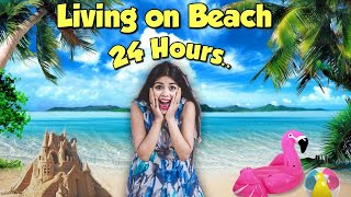 Living on a Beach for 24 Hours!! OMG *Buried in Sand* 😂😂