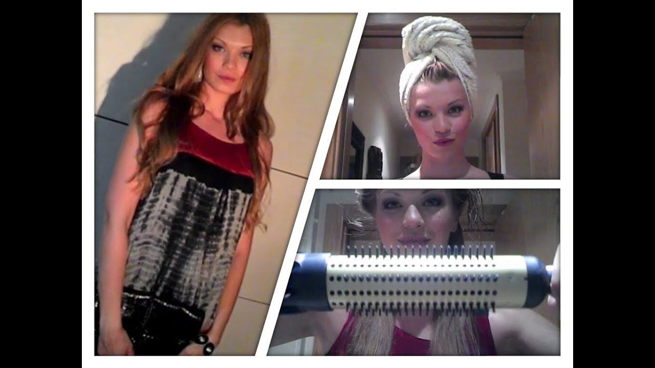 Видео как сушить волосы феном щеткой