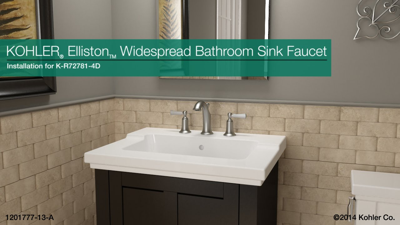 Installation Elliston Widespread Bathroom Sink Faucet YouTube - Kohler devonshire bathroom sink faucet
