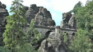 Мост Бастай, Германия, Европа(Мост Бастай, проложенный меж скалистых гор, был воздвигнут на высоте 195 метров на правом берегу реки Эльба:..., 2014-01-28T07:15:03.000Z)