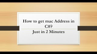 How to get the MAC address of system in C# || E-Learning Portal.