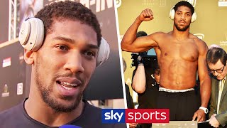 Anthony Joshua reacts to weighing in THREE stone lighter than Andy Ruiz Jr
