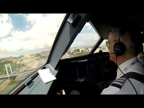 Pilot's view of Wizz Air's low pass over the Danube
