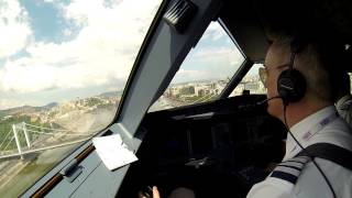 pilot s view of wizz air s low pass over the danube