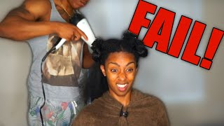 HUSBAND BLOW DRY'S NATURAL HAIR  || FAIL?