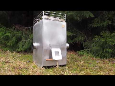 Rocket wood stove for sauna