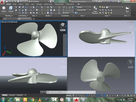 3D Rotor Blades by using AutoCAd | ARRAY, TRime, SURFACE COMMAND