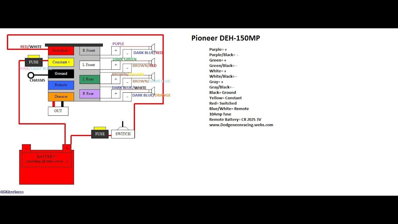 maxresdefault wire diagram for the pioneer deh 150mp and 2000 dodge neon youtube pioneer deh-3200ub wiring harness at gsmx.co
