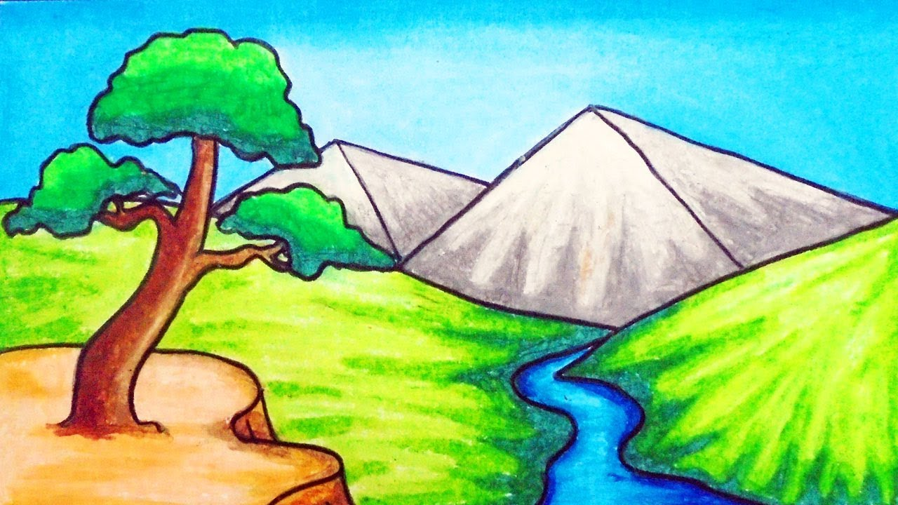 How To Draw Easy Scenery Drawing River And Mountain Scenery Step By Step With Oil Pastels Youtube