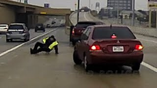 Texas Slip and Slide: Officer Narrowly Escapes Skidding Car