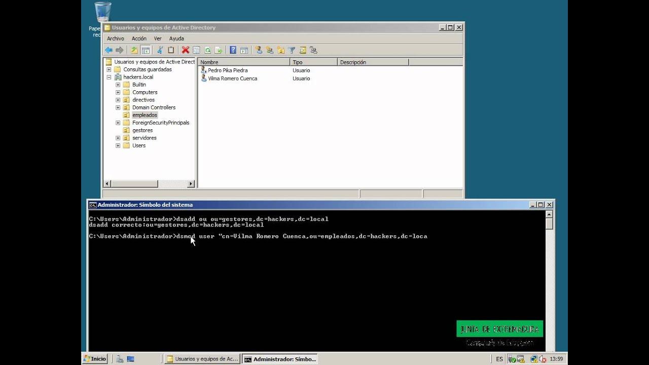 Modificar las propiedades de un usuario. Directorio Activo. Windows ...
