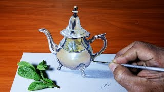 How To Draw A Realistic Moroccan Teapot On Paper | Amazing 3D Drawings Art