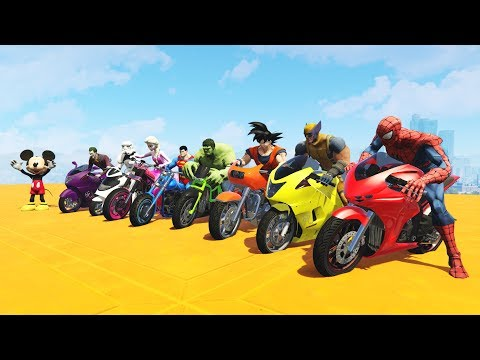 Thumbnail: LEARN COLORS MOTORCYCLES AND PLANES w/ Superheroes Fun Animation for Children and Babies