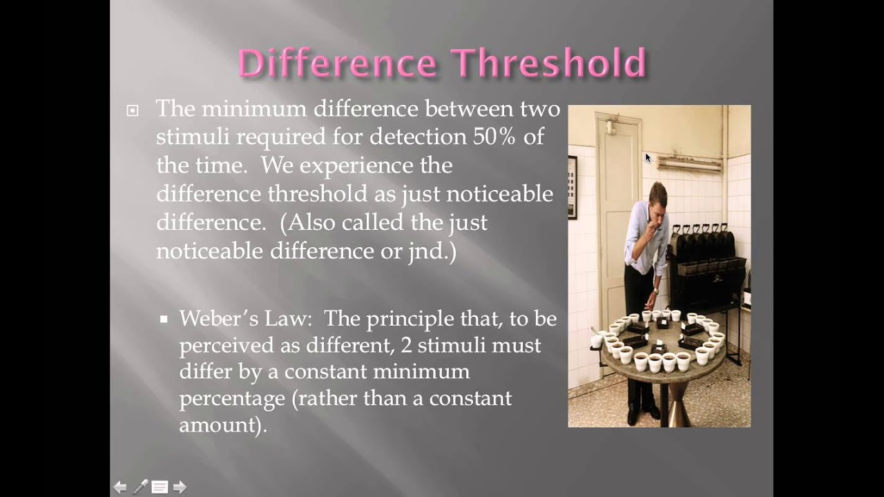 absolute and difference threshold Define sensation and explain its connection to the concepts of absolute threshold , difference threshold, and subliminal messages discuss the roles attention,.