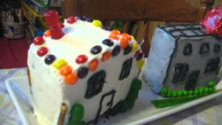Fire truck cake and village
