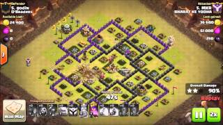 Clash of Clans - TH9 Three Star Golem Pekka - GoWiPe War Attack