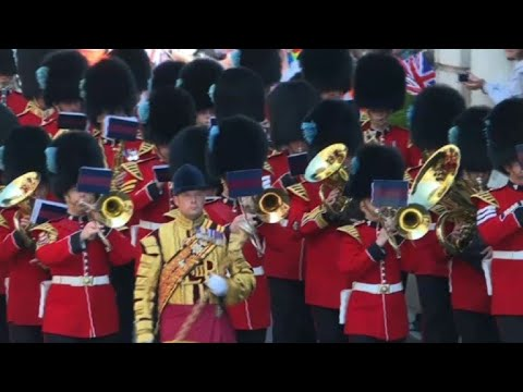 Members of the Foot Guards Regimental Band march in Windsor