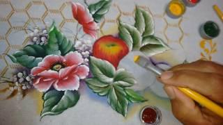 Pintura aprenda a fazer Maçãs, Folhas e acabamentos