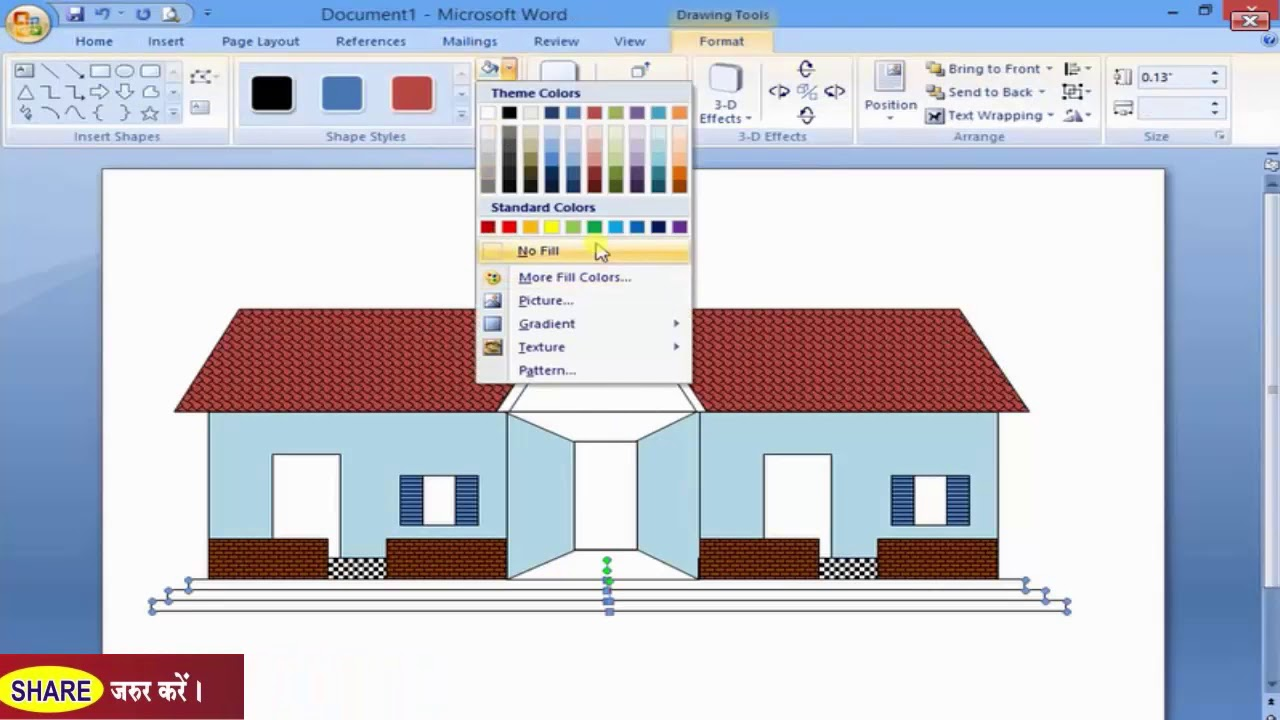 how to draw a house in ms word using auto shapes   exercise in hindi- u0939 u093f u0902 u0926 u0940  u092e u0948 u0902